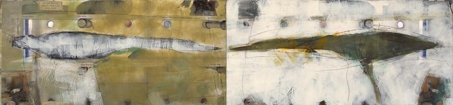 Original artwork by Barbara Downs, One Thing is Not the Other, Encaustic/Oil/Photo on Panel