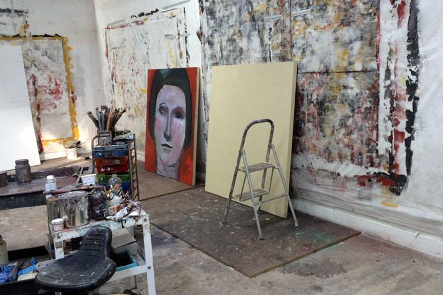 canvases in the studio of Barbara Downs
