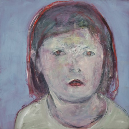 Original artwork by Barbara Downs, Child Painting (I), Oil/Mixed-Media on Panel