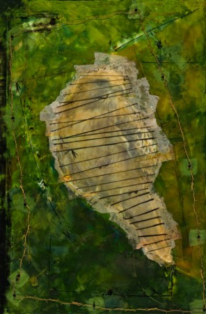 Original artwork by Barbara Downs, To Have and To Hold, Encaustic/Oil/Photo/Barbed Wire/Sinew/Nails on Panel