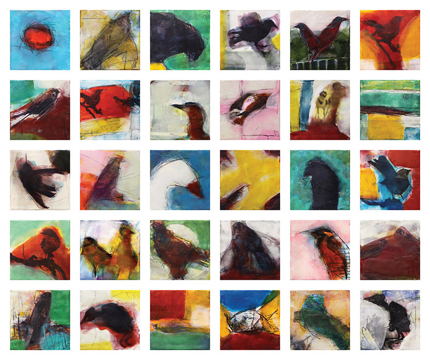 Original artwork by Barbara Downs, The Daily Bird, Reconsidered, Encaustic/Oil/Photo on Panels, 30 panels in a 5x6 grid