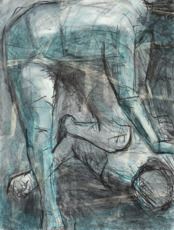 Original artwork by Barbara Downs, Untitled Drawing, based on Caravaggio's David and Goliath, Mixed Media on Paper