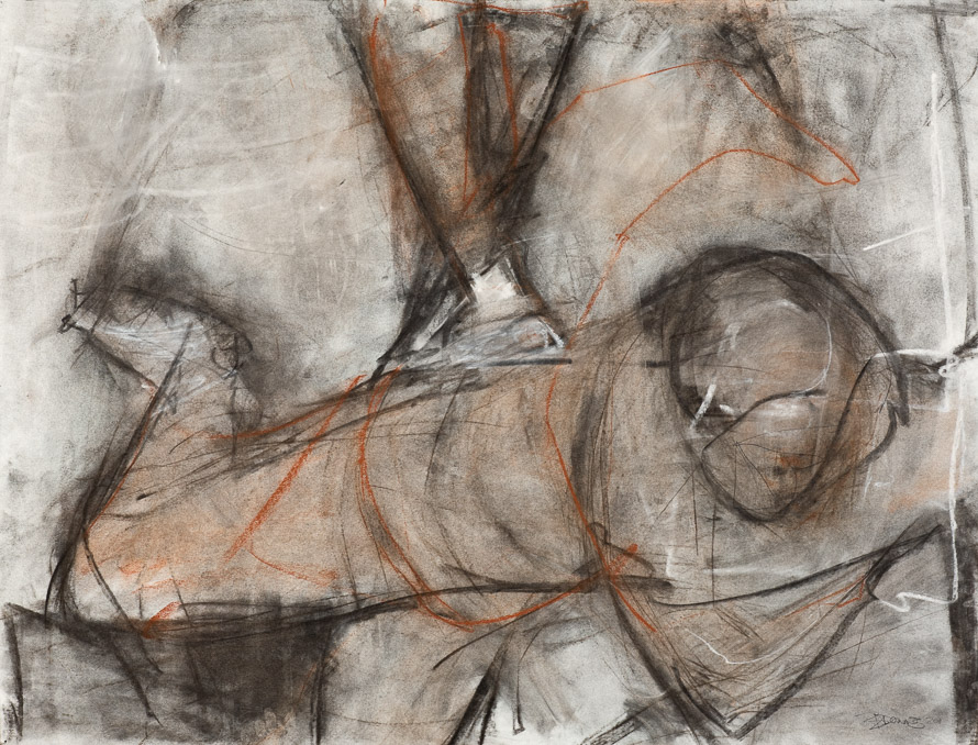 Original artwork by Barbara Downs, Untitled Drawing, based on Tintoretto's The Crucifixion, Mixed Media on Paper