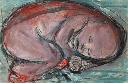 Original artwork by Barbara Downs, Curled Baby (I), 2014