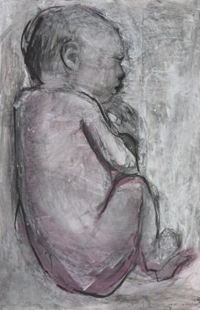 Original artwork by Barbara Downs, Curled Baby (II), 2014