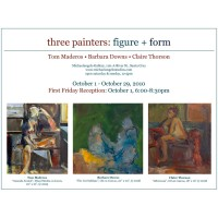 Barbara Downs announcement for Three Painters exhibition