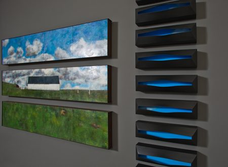 original artwork by Barbara Downs, left: Making My Own Paradise, Right: Nothing But Blue Skies