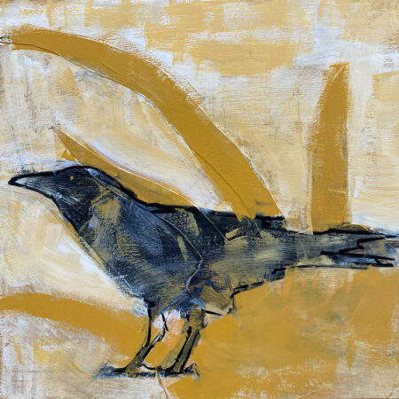 mixed-media image of bird by Barbara Downs